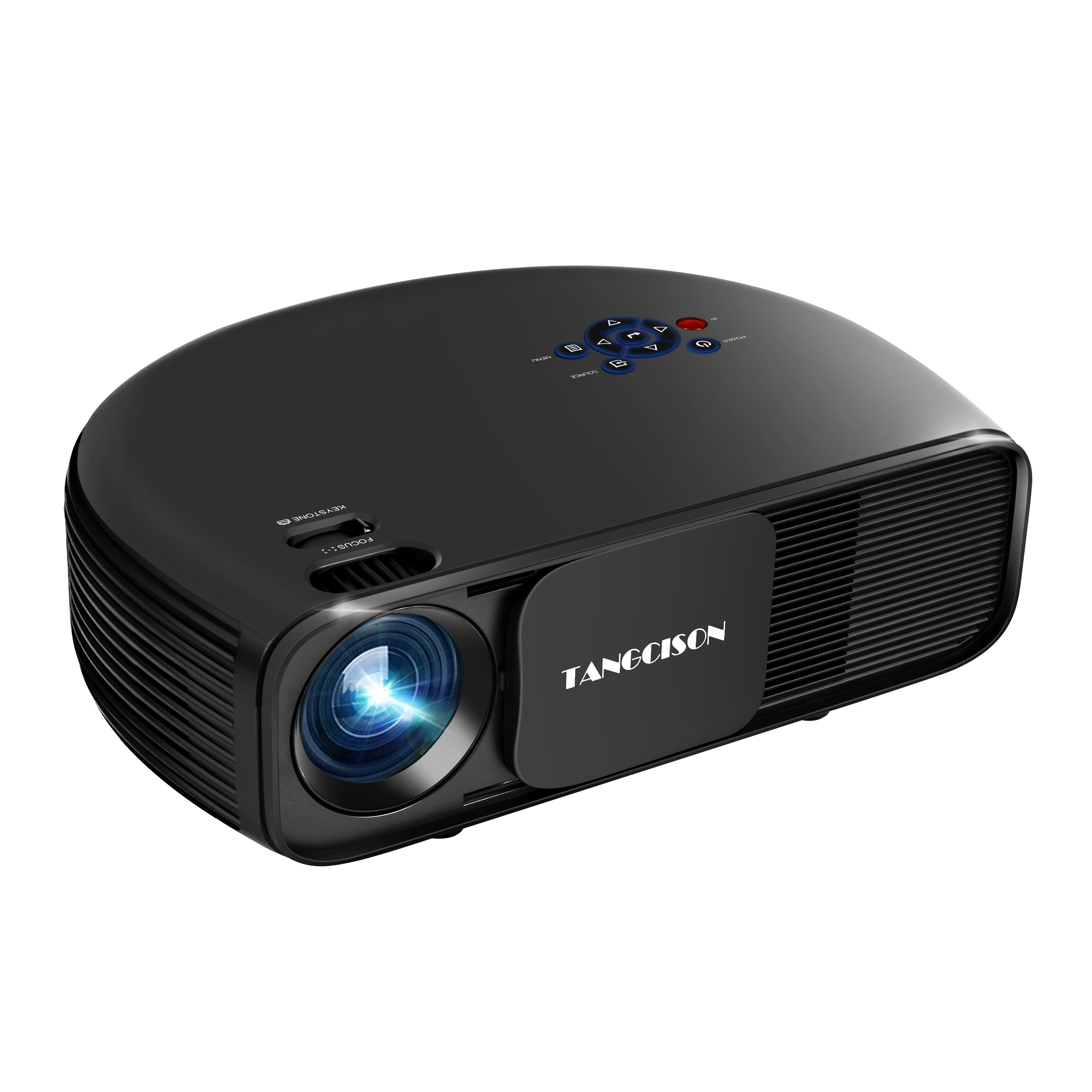 TANGCISON Home Projector Video Projector,LED Projector 1080P Projector Office Projector Multimedia Home Theater Movies Projector for Cinema Laptop Game