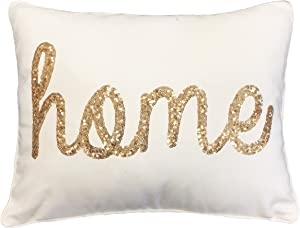Thro by Marlo Lorenz TH011762003E Home Sequin Script Faux Linen Pillow, Egret Gold