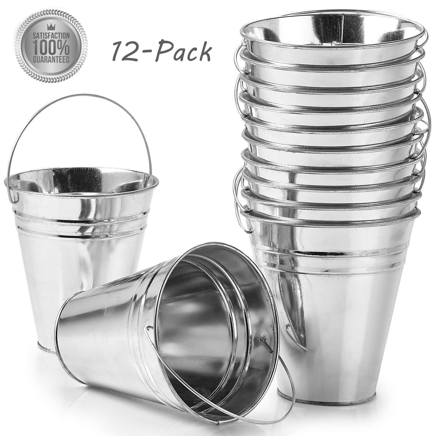 "Kidsco 12-Pack Large Galvanized Metal Buckets with Handle 5"" X 4 1/2"" - Unique Goody Baskets, Great for Party Favors, Party Accessories and Decoration"