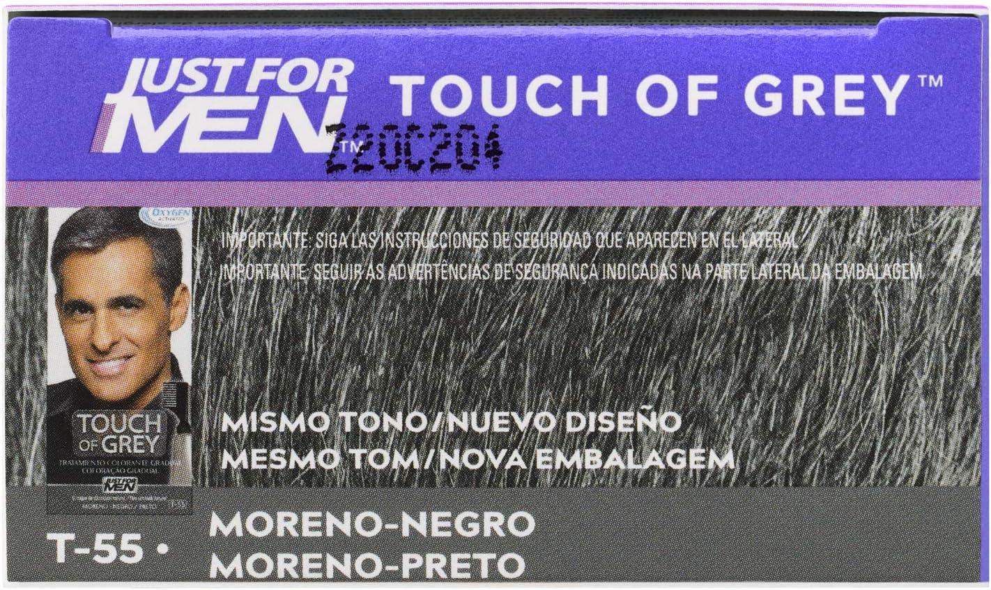 Just For Men Touch Of Grey, Tinte Gradual Que Reduce Parcialmente Las Canas, Moreno Negro. Look Sal Y Pimienta