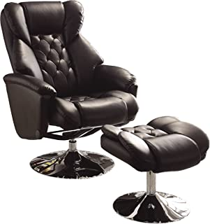 Homelegance 8548BLK-1 Swivel Reclining Chair with Ottoman Black Bonded Leather Match  sc 1 st  Amazon.com & Amazon.com: Homelegance 8550WHT-1 Swivel Reclining Chair with ... islam-shia.org