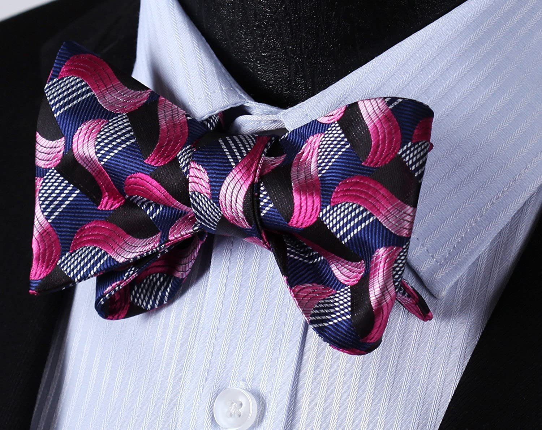 HISDERN Mens Paisley Jacquard Wedding Party Self Bow Tie Pocket Square Set One Size