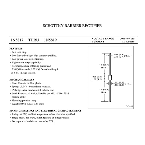 DO-204AL HUABAN 20PCS 1N5817 Diodos rectificadores de barrera Schottky 1A 20V DO-41 Axial 5817 1 Amp 20 voltios
