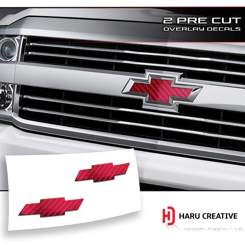 5D Gloss Carbon Fiber Blue Front Hood Grille Tailgate Bumper Trunk Bowtie Emblem Overlay Vinyl Decal Sticker Compatible Fits Chevy Chevrolet Silverado 2016-2018 Haru Creative