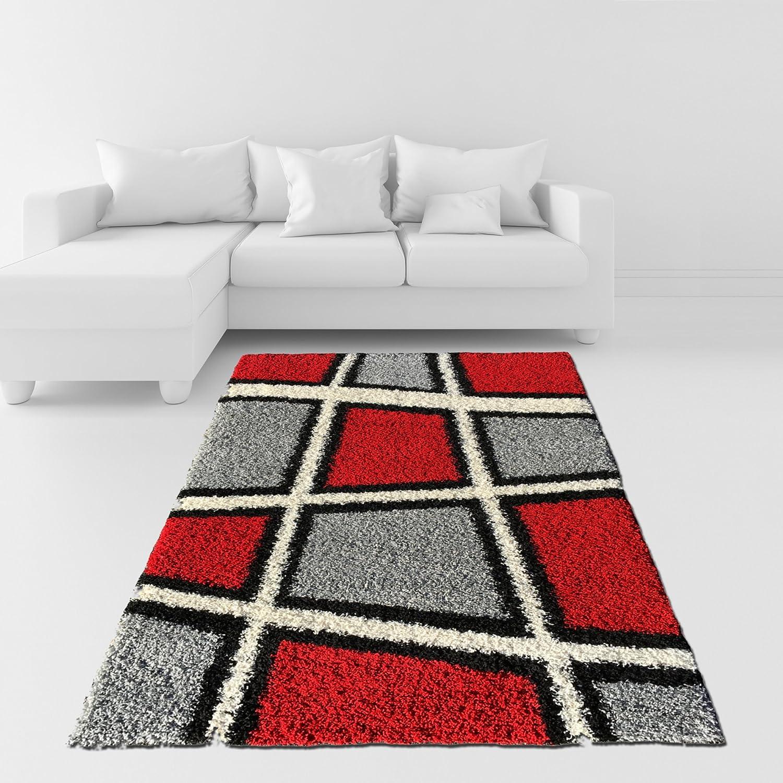 Amazon Com Soft Shag Area Rug Geometric Tile Design Red Ivory