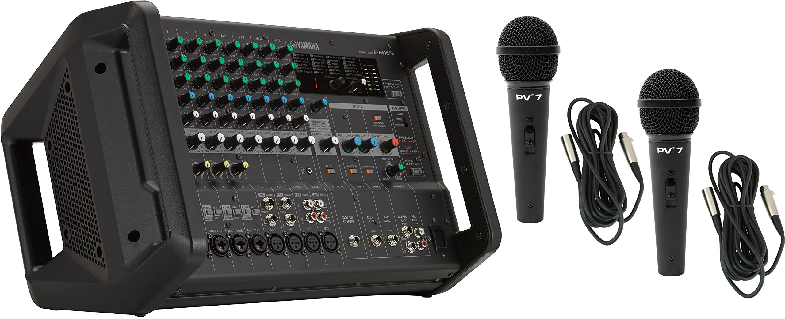 Yamaha EMX5 12 Channel 2x630W Powered Mixer w/ 2 Mics and 2 XLR Cables