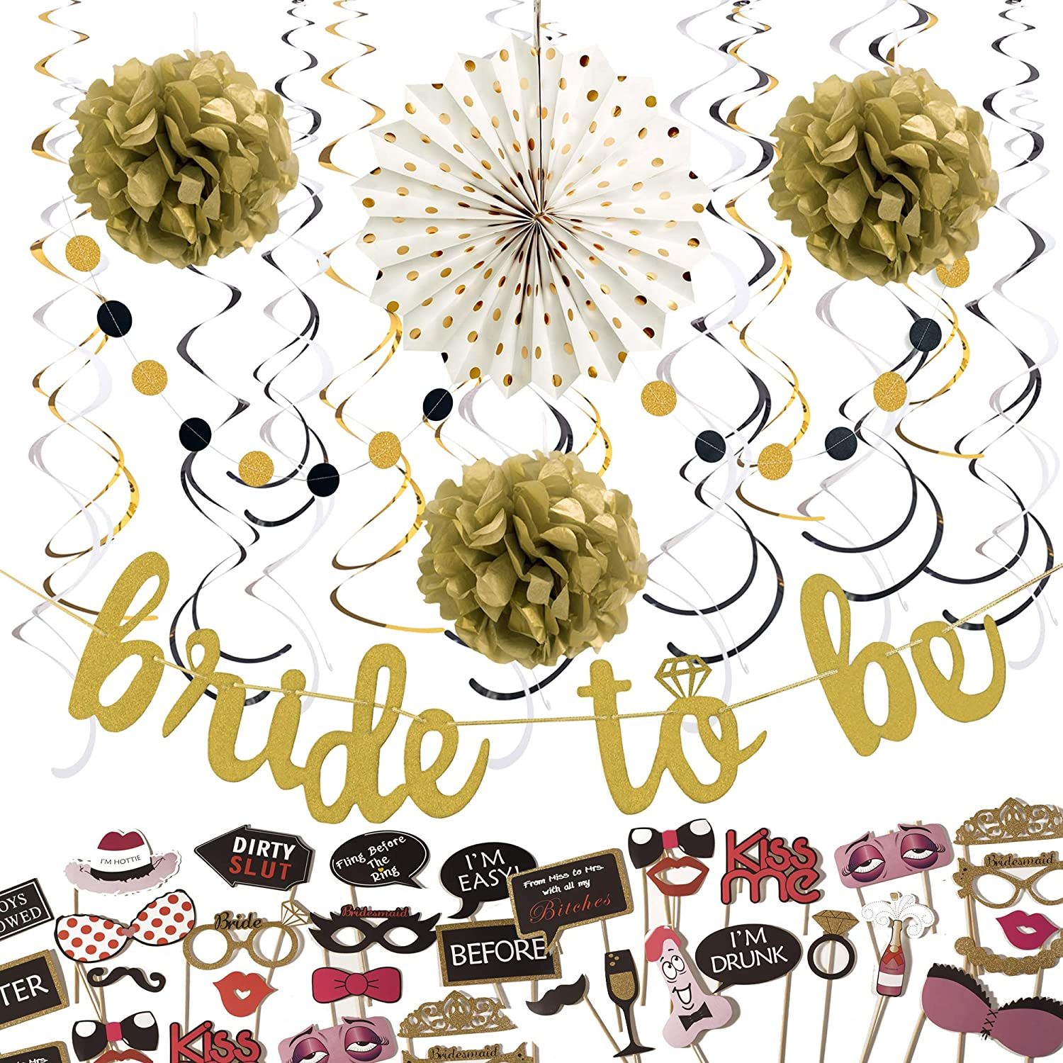 """Bachelorette Party Decorations Kit - 54 Pcs - Bridal Shower Supplies - Bride to be Decoration - Photo Booth Props Set - Gold Decor """"Bride to Be"""" Banner, Paper Fan, Paper Garlands, Pom Pom's, Swirls"""