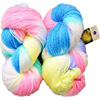 GANGA Glow Knitting Yarn Wool, Blue Lily 200 gm Woolen Crochet Yarn Thread. Best Used with Knitting Needles, Crochet Needles. Vardhman Wool Yarn for Knitting. Best Woolen Thread.