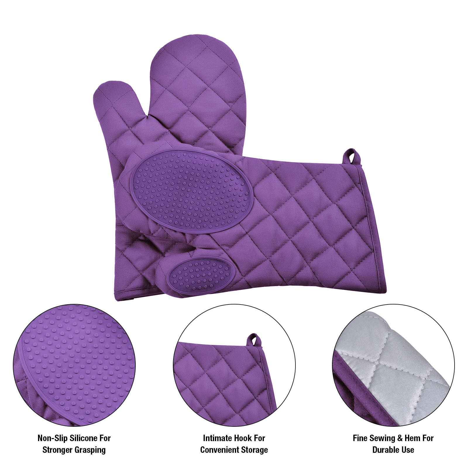 VEEYOO Cotton Oven Mitts Pot Holders Set - Kitchen Silicone Oven Mitt Heat Resistant, Non-slip Grip Oven Gloves Potholder 3 Packs Cooking, Baking & BBQ, Purple by VEEYOO (Image #3)