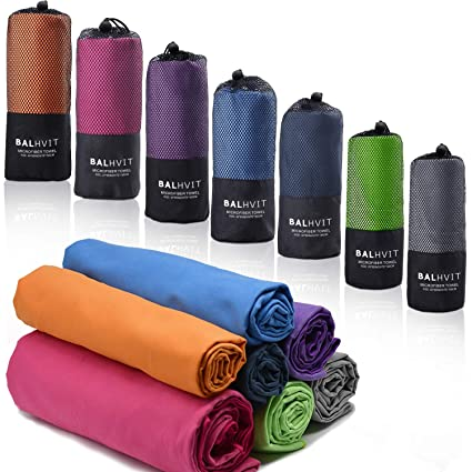 Absorbent Compact,Gym Towel,Camping Beach towel XL, Large, Medium Towel blue, green, purple Cleaning Travel Towel Yoga Anti bacterial Microfibre Towel with Carry bag-Lightweight