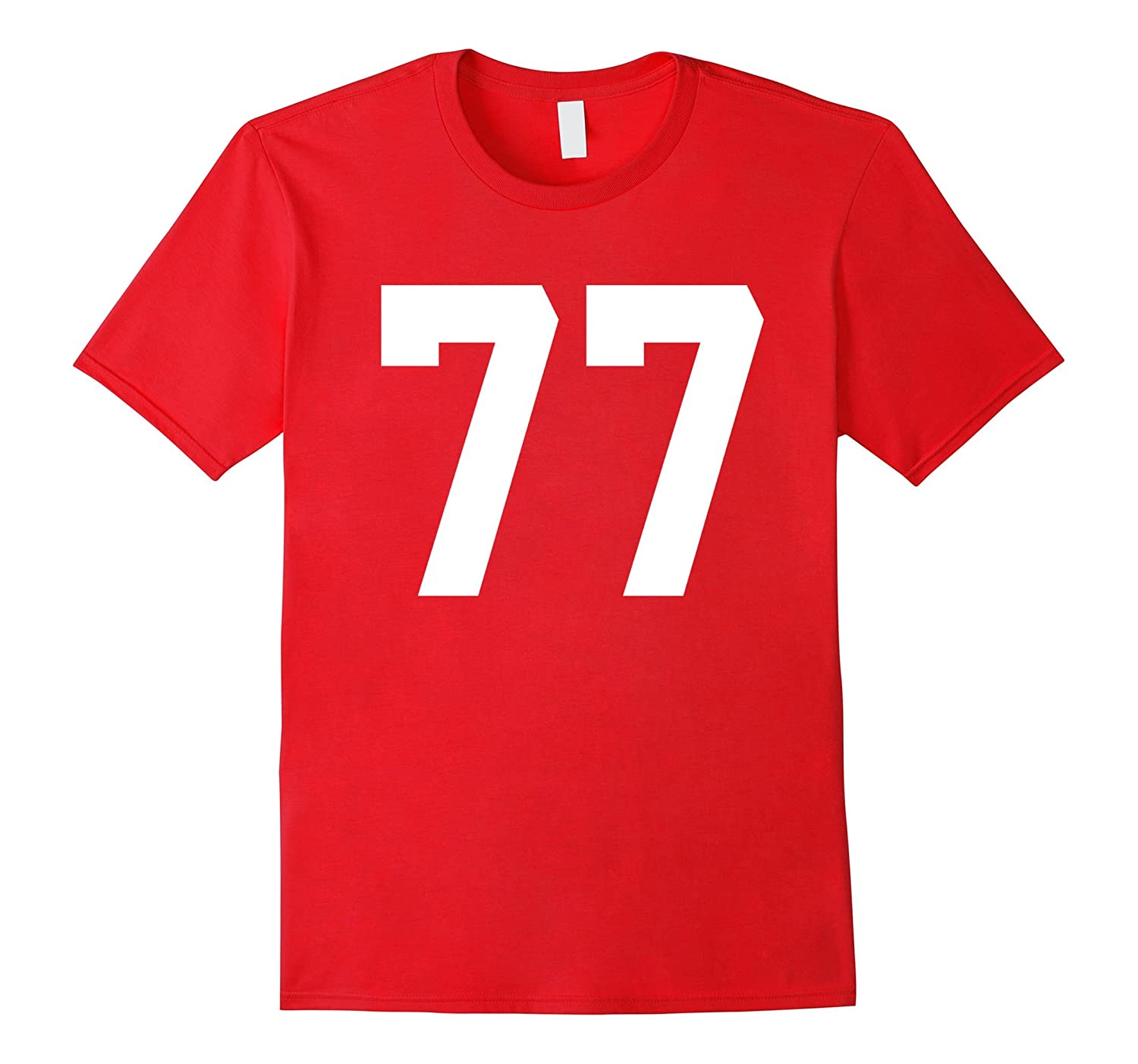 #77 Team Sports Jersey Number Front & Back Player / Fan Tee-TH