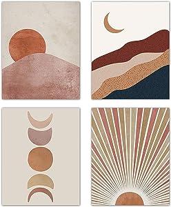Sunset Sunrise Landscape Art Prints Modern Mid Century Geometric Decor Boho Sun and Moon Wall Art Painting Set of 4 (8x10 Canvas Picture) Office Bedroom Kitchen Home Decor Unframed