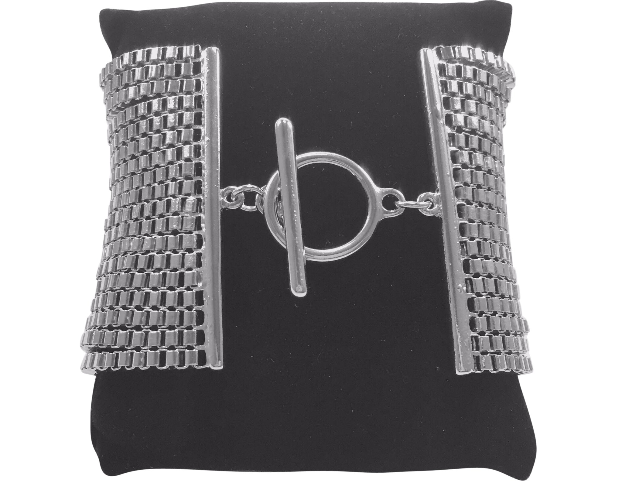 Guess Silver Multi Strand Box Chain Bracelet with Toggle Clasp