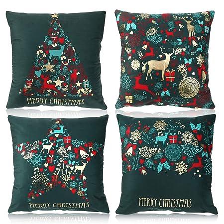 Verde Elegante Cojines Almohadas Fundas de Feliz Navidad Año ...