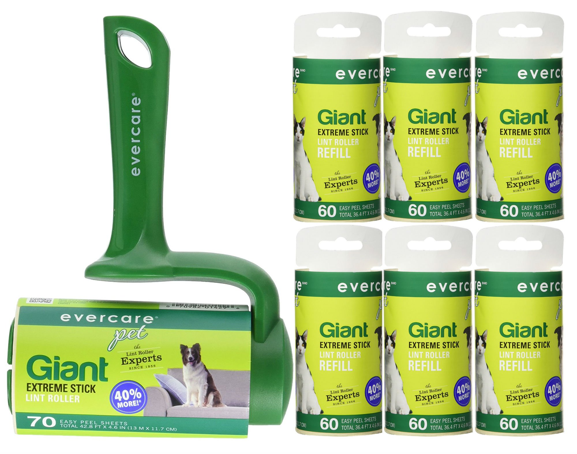 Evercare Pet Bundle: Giant Pet T Hand Roller & Giant Pet Roller Refills - 6 Pack