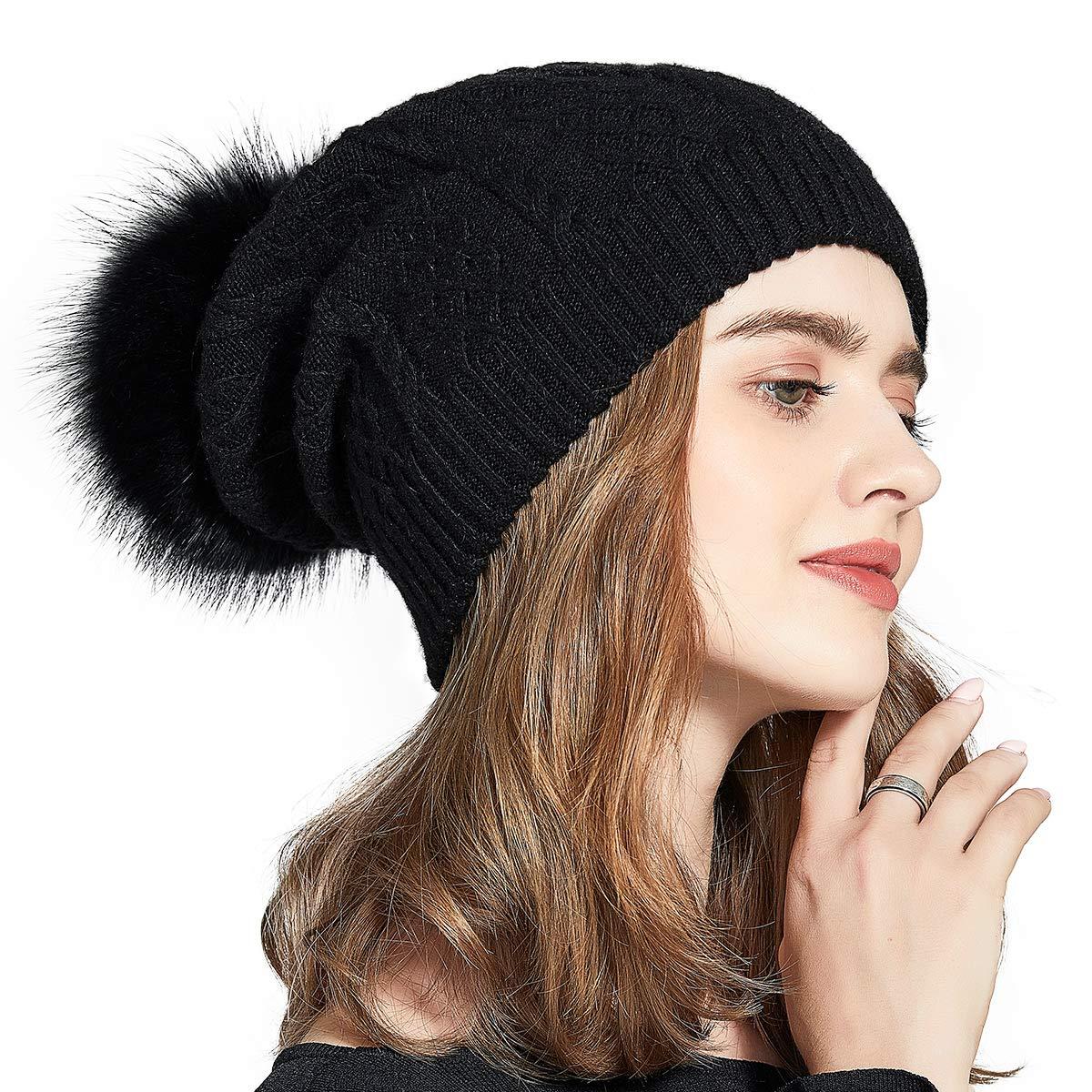 Winter Slouchy Beanie Real Fur Pompom Hats for Women Girls Knit Wool Ski Cap