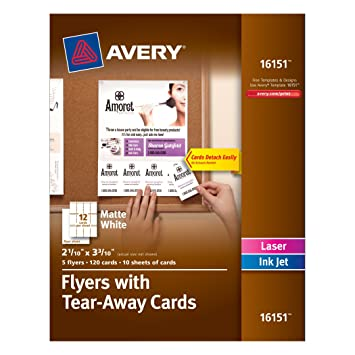 Flyers With Tear Away Cards 8 1 2 X 11 White