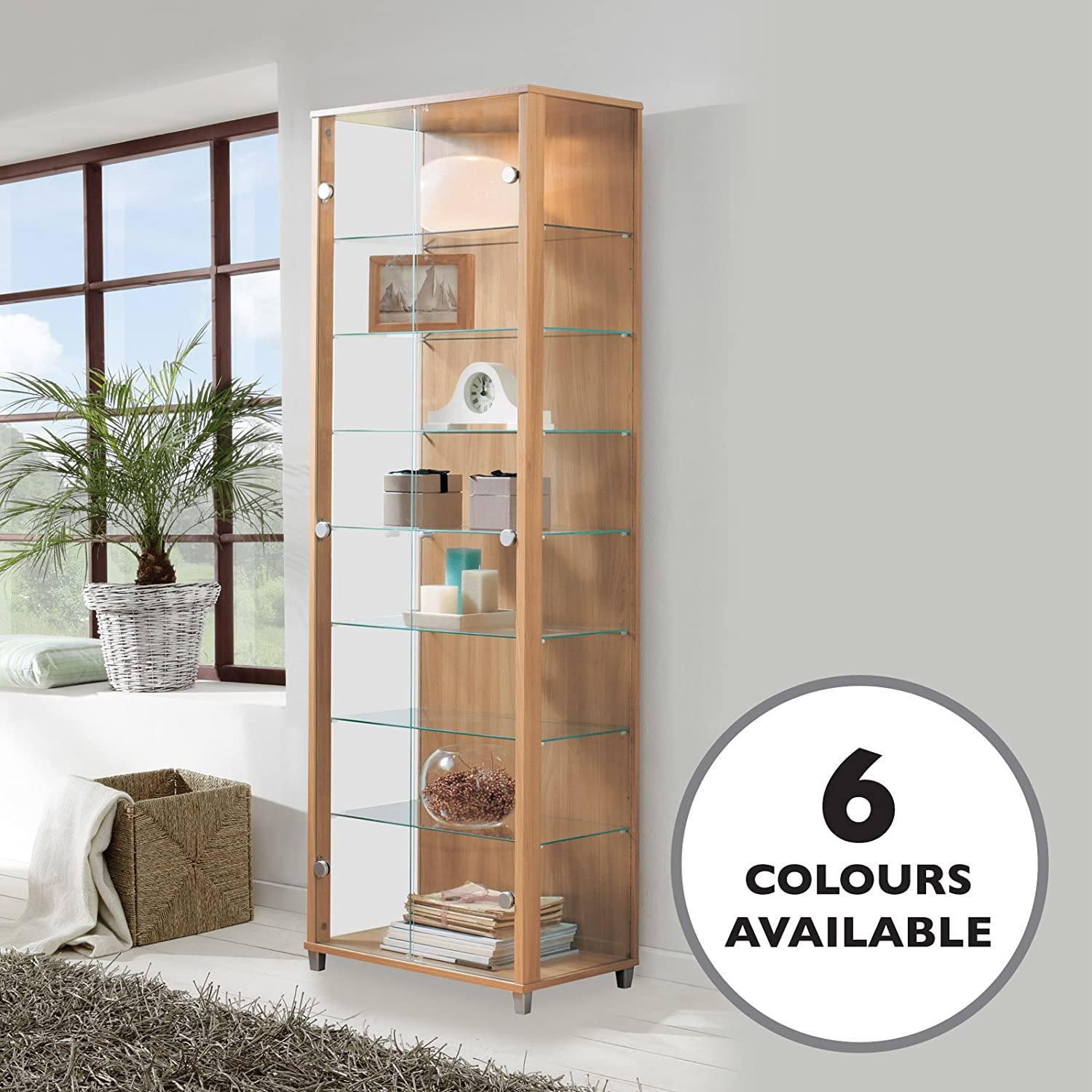 HOME Double Glass Display Cabinet Oak Effect with 4 Moveable Glass Shelves & Spotlight Displaycabinetsuk