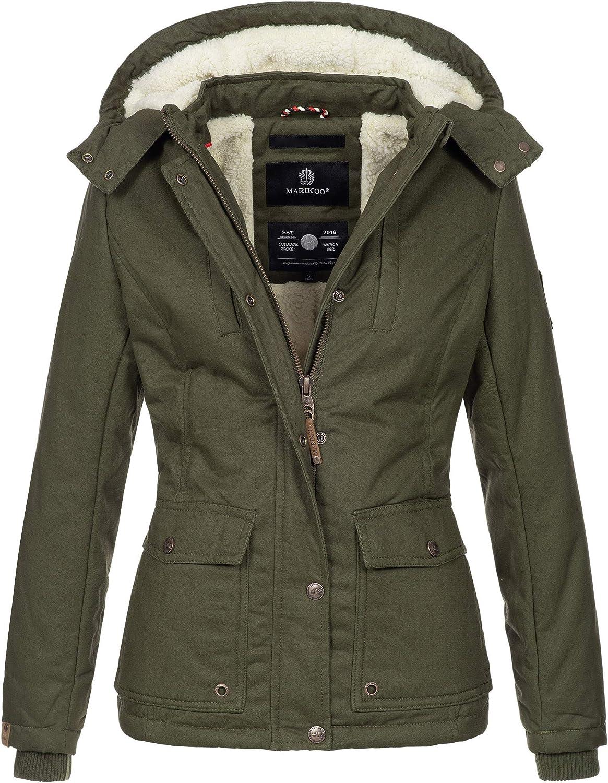 Marikoo warme Damen Winter Jacke Winterjacke Teddyfell Kapuze Muster NEU B683
