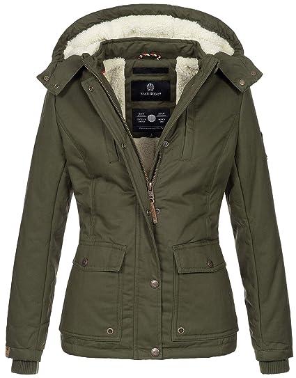 Marikoo warme Damen Winter Jacke Winterjacke Teddyfell Kapuze Muster B683