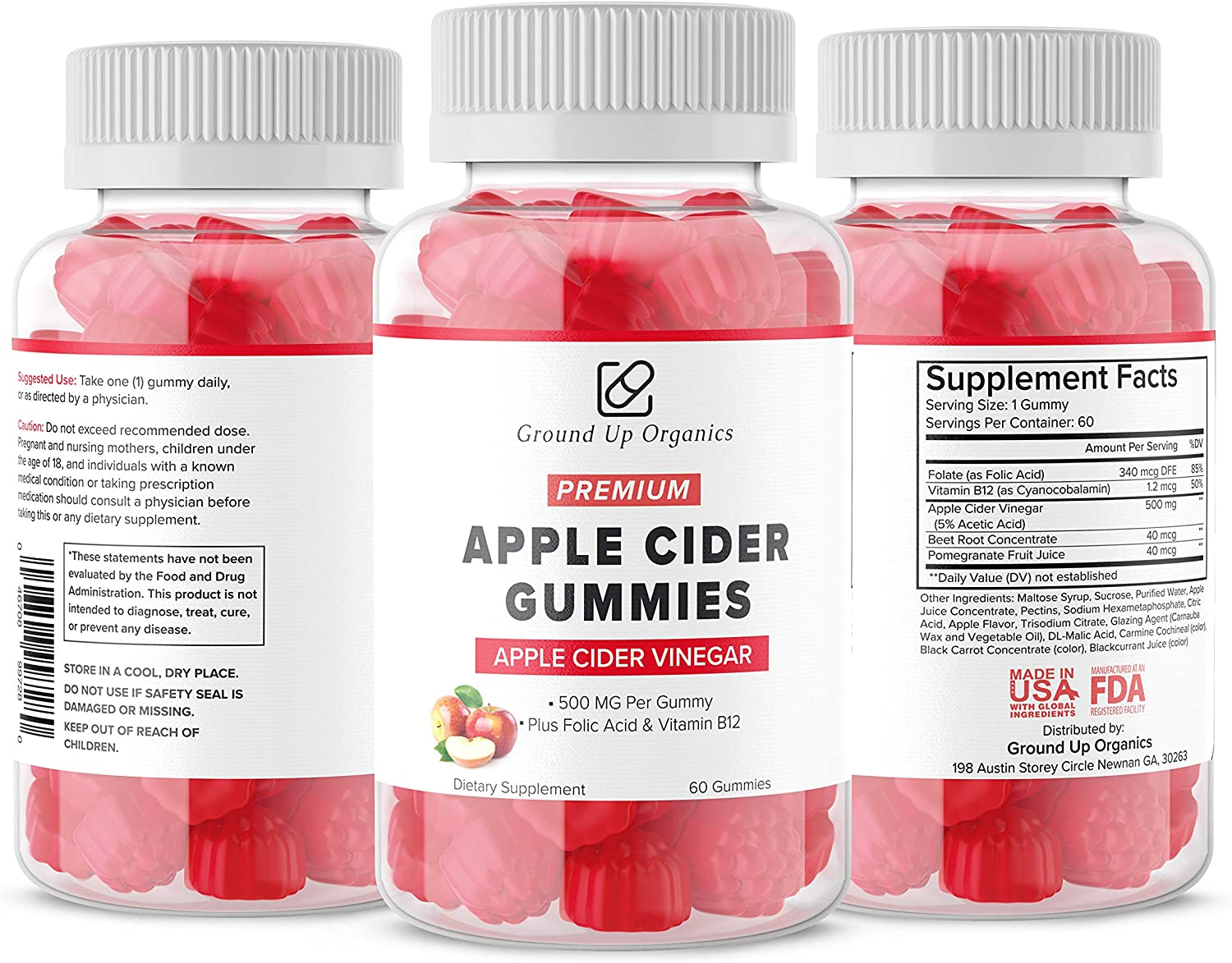 Ground Up Organics Apple Cider Vinegar Gummies - 500mg Per Gummy Plus Folic Acid and Vitamin B12 - Gummy Alternative to Apple Cider Vinegar Capsules - Most Advanced Formula - Immunity, Weight & Detox