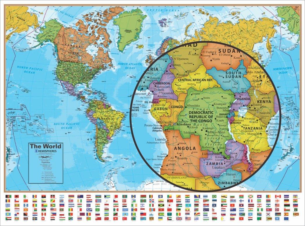 Amazon.com: Hemisphere World Wall Map with Flags   51