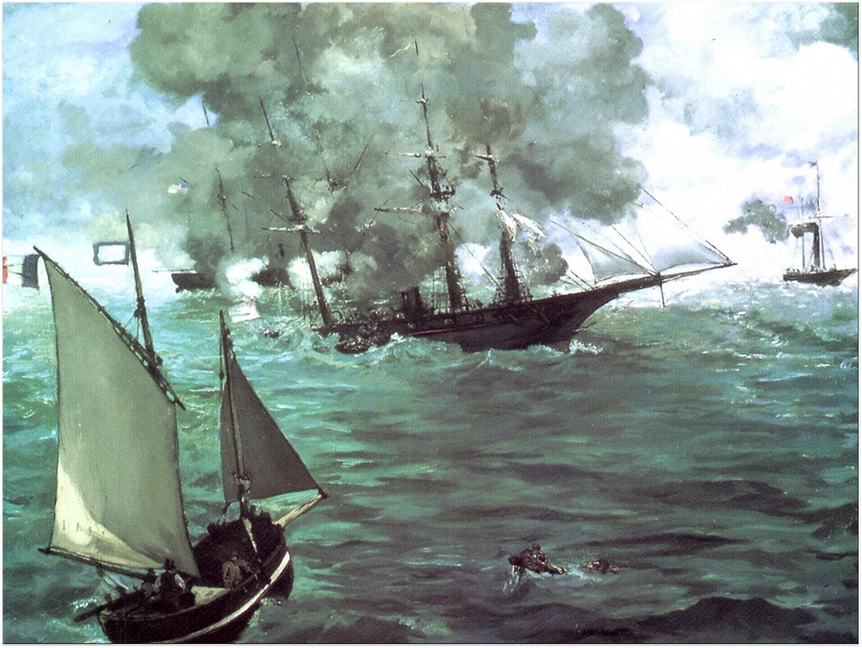 Bilderdepot24 Imagen Lienzo Édouard Manet - Viejos Maestros Batalla del Kearsarge y Alabama 40x30 cm - Totalmente Enmarcado, Directa del Fabricante: Amazon.es: Hogar