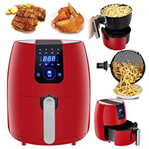 SUPER DEAL PRO 8-in-1 Electric Air Fryer 3.7 Quart Programmable Digital Touchscreen w/Recipe Book, Dishwasher Safe Parts, Temperature Control, Auto Shut off & Timer (Modern Red)