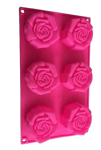 6 Rosas Flores Silicona Forma Chocolate Molde para Bombones Forma Cup Cake Galletas Manualidades Hornear verzieren