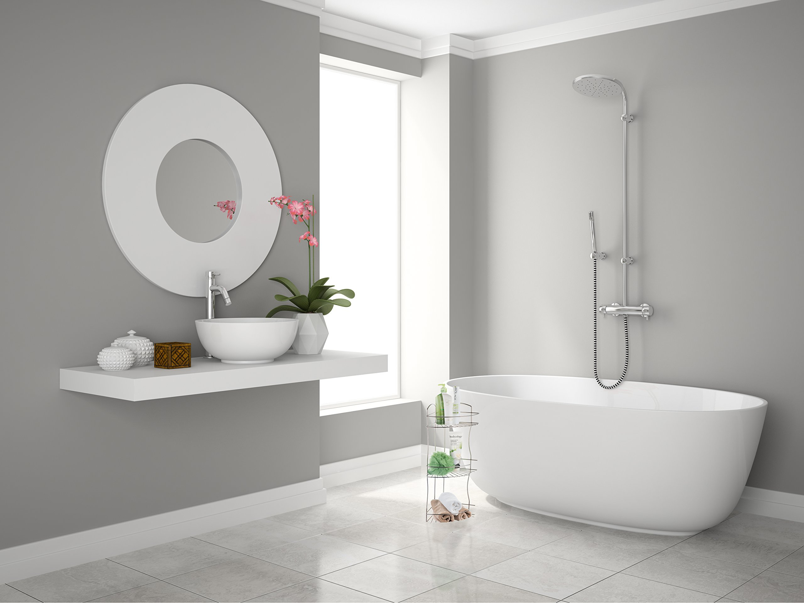 AMG and Enchante Accessories Free Standing Bathroom Spa Tower Floor Caddy, FC232-A SNI, Satin Nickel by AMG (Image #3)