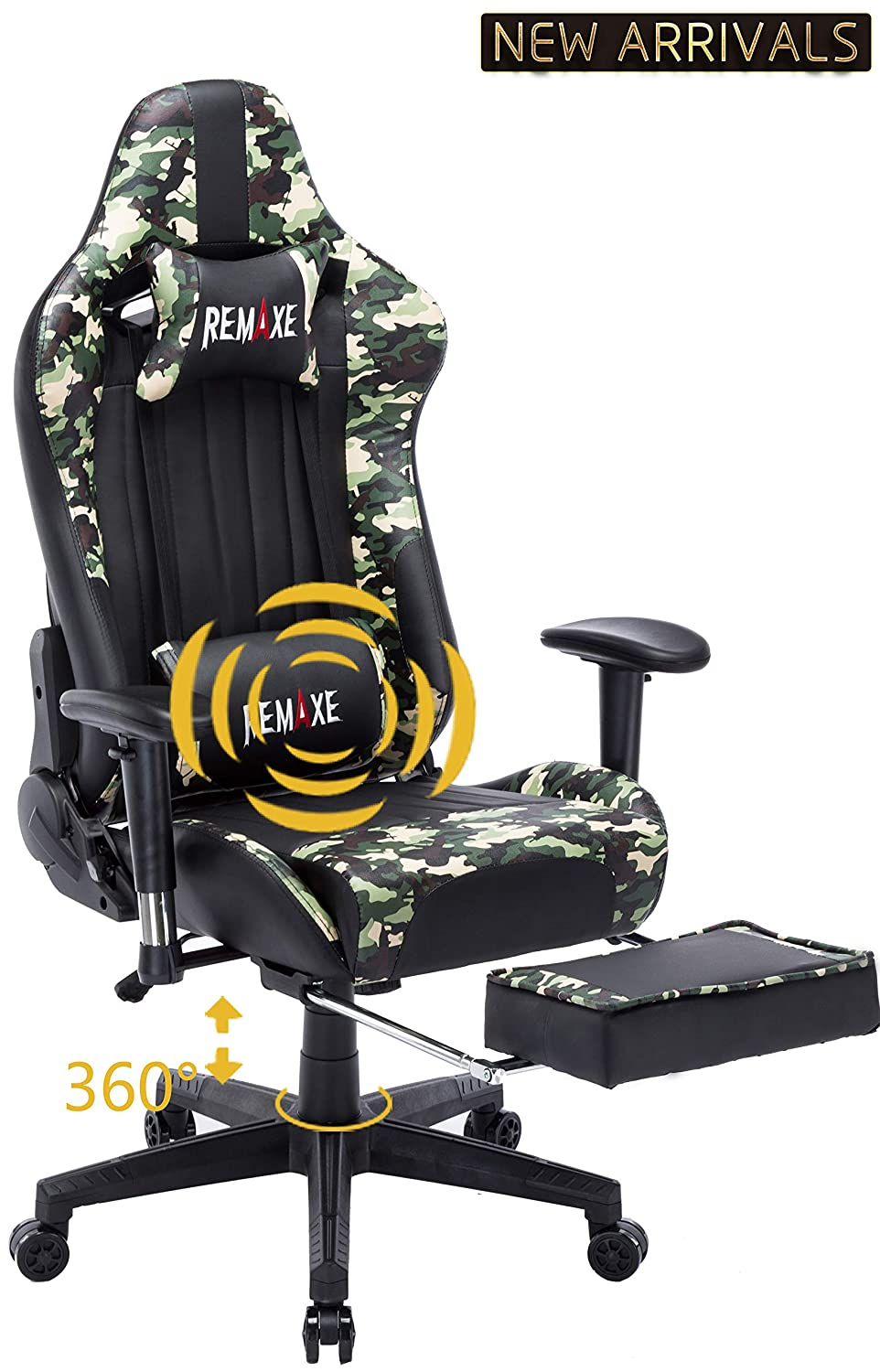 Black&Camo Large Size Computer Gaming Chair Ergomonic Racing Chair with Retractable Footrest,Execultive PU Leather Headrest Lumbar Massager Cushion Ergonomic Swivel PC Chair for Home(Black)
