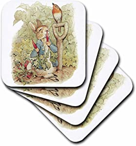 3dRose CST_110164_2 Peter Rabbit in The Garden-Vintage Art-Soft Coasters, Set of 8