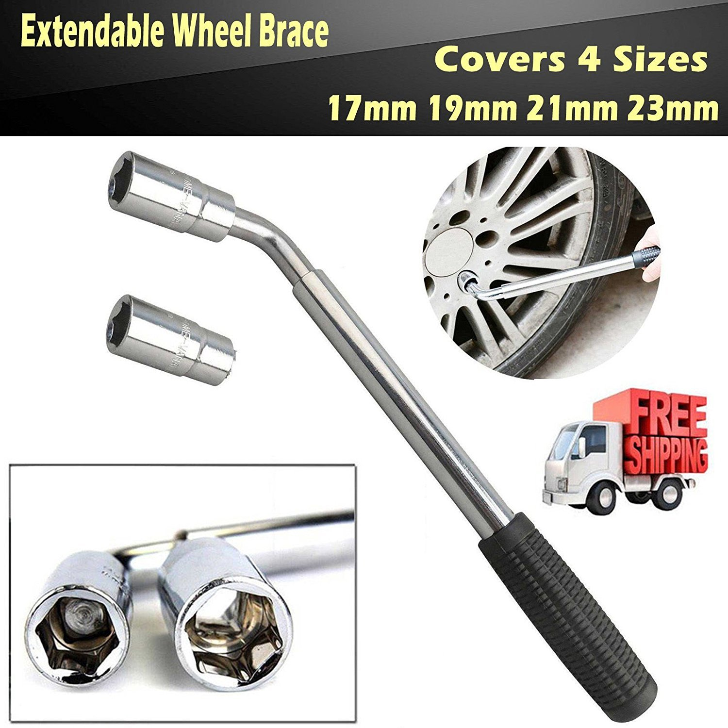 Extending Wheel Nut Brace Telescopic with 17mm 19mm 21mm 23mm 4 Standards Lug Wrench for Spare Tire Repair Emergency Hand Tools
