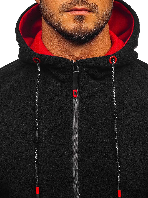 BOLF Herren Kapuzenpullover mit Rei/ßverschluss Sweatjacke Hoodie Baumwollmischung Outdoor Sport Street Style 1A1