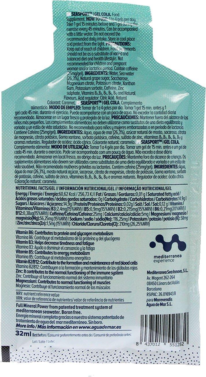 Gel Energético Seasport Pro Natural con agua de mar, sabor naranja, 10 sobres de 32 ml, con vitaminas y minerales,Gel deportivo para tomar después de ...