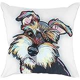 (Cd-Go-w1) - Redland Art Cute Pet Schnauzer Dog Pattern Cotton Polyester Throw Pillow Case Car Sofa Cushion Cover Home Decor 46cm x 46cm