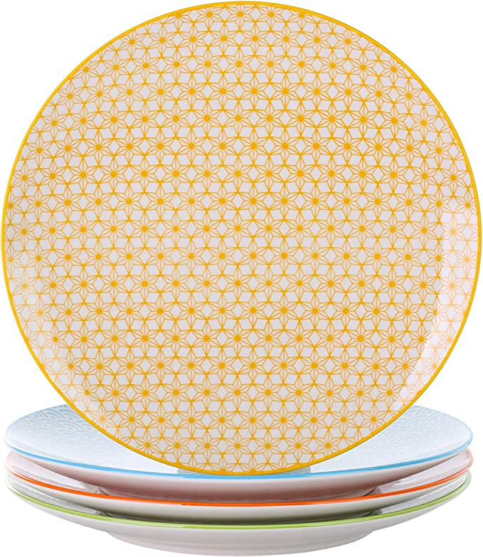vancasso Natsuki Plato de Postre de Porcelana, 4 Piezas Plato de Plato de Pastel, Plato Plano para el Desayuno