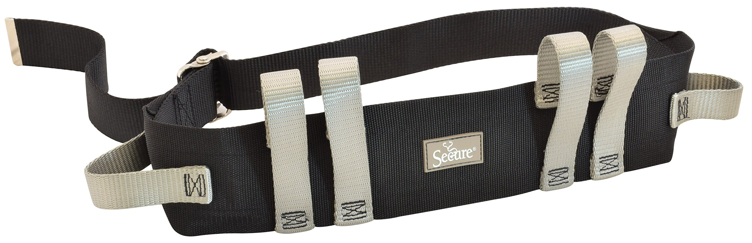 Secure Transfer Gait Belt with 6 Handles and Quick Release Metal Buckle - Medical Nursing Walking Assist Aid for Elderly, Seniors, Therapy (60 inch x 4 inch, Gray Hand Grips (Metal Buckle))