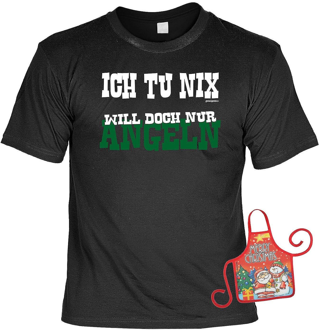 Angelshirt Will doch nur Angeln Minisch/ürze : Ich tu nix witziger Scherzartikel Flaschensch/ürze lustiges Spr/üche T-Shirt Angler Weihnachts-Geschenk-Set