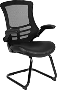 Flash Furniture Black Mesh Sled Base Side Reception Chair with White Stitched LeatherSoft Seat and Flip-Up Arms