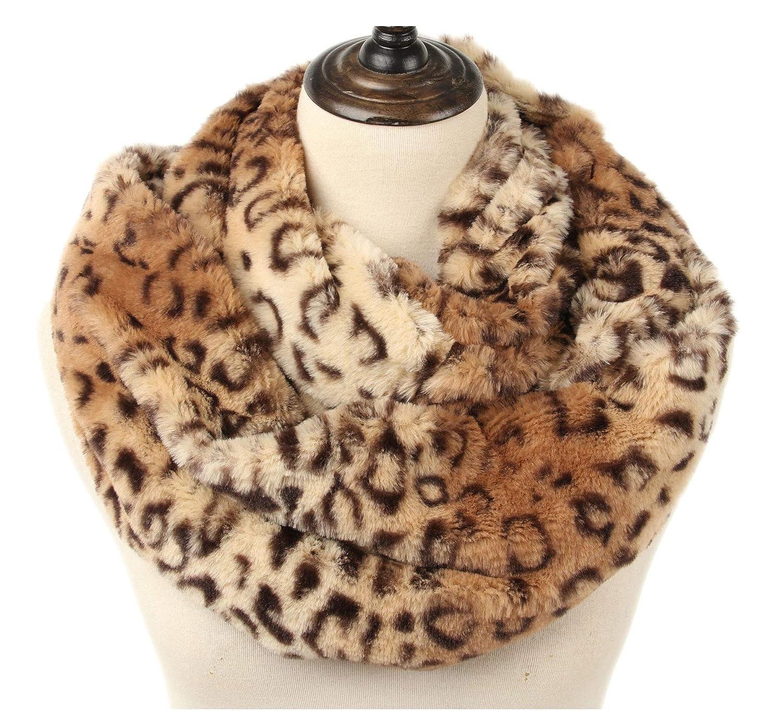 81b4c09db78b1 Amazon.com: La Carrie Womens Faux Fur Leopard Print Infinity Scarf Loop  Circle Neck Warmer(Brown Leopard): Clothing