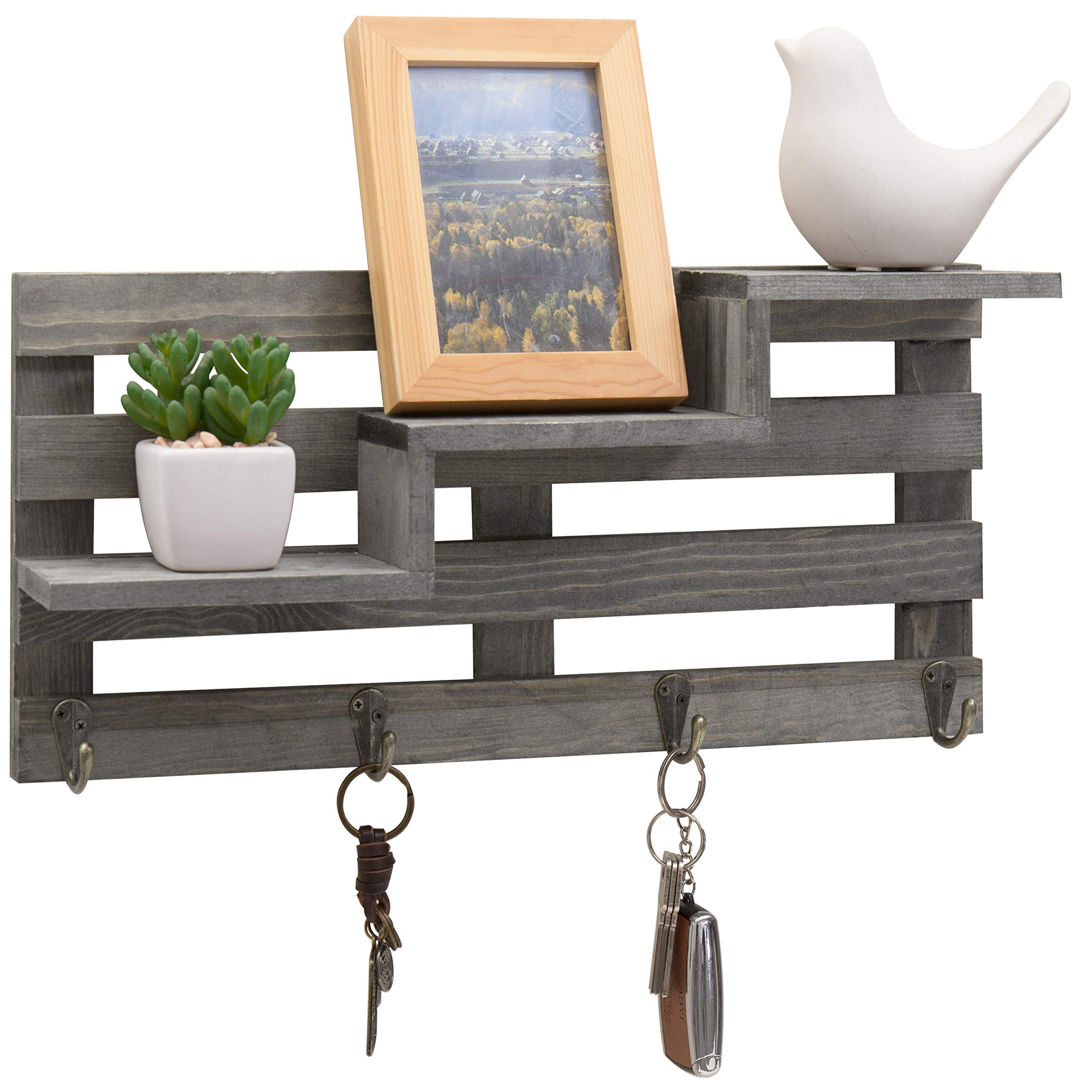 MyGift Vintage Gray Wood Wall-Mounted 3-Tiered Stair Display Shelf with 4 Key Hooks by MyGift