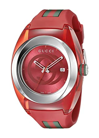 3de09ce21f2 Amazon.com  Gucci SYNC XXL Red Rubber Strap 46mm Unisex Watch YA137103   Watches