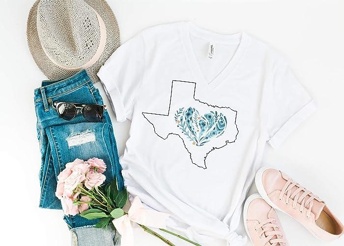 6b9726c3d Amazon.com: Texas Blue Feather Heart, Ladies T Shirt, BoHo Tee ...