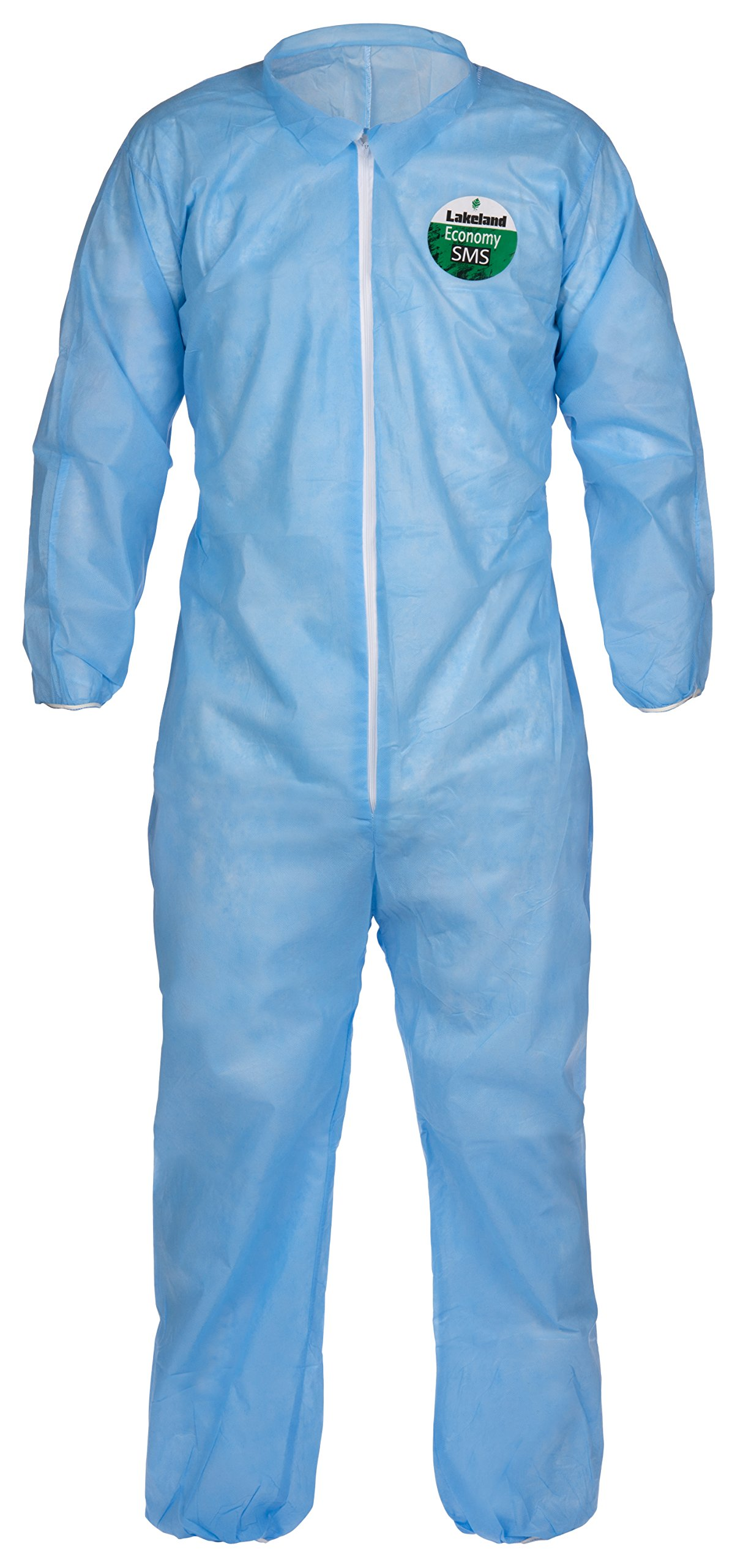 Lakeland SafeGard Economy SMS Coverall, Disposable, Elastic Cuff, 2X-Large, Blue (Case of 25) by Lakeland Industries Inc