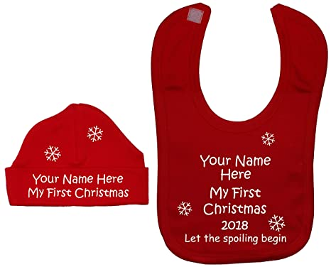 2d08a276788 Personalised My First Christmas Let The Spoiling Begin With Year Baby  Feeding Bib   Beanie Hat Cap Set 0 to 12 Months  Amazon.co.uk  Clothing