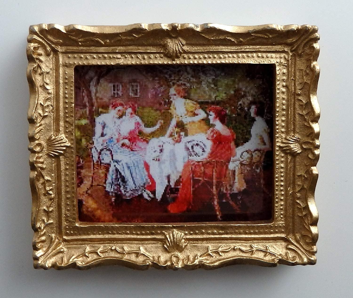 Melody Jane Dolls House Miniature Accessory Victorian Lady Painting Gold Frame