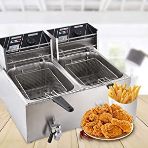 Electric Deep Fryer with 2 Basket and Lid for Home Commercial, 16Qt Stainless Steel Large Deep Fat Fryers with Cover and Temperature Control for French Fries, Chicken and Fried Food for Restaurant
