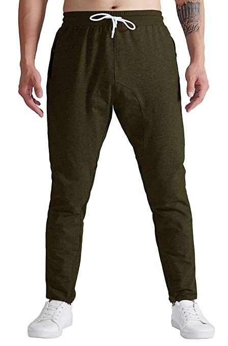 766ac4bb8 YSENTO Men s Bodybuilding Running Athletic Ankle Zip Jogger Pants Army  Green Size XS