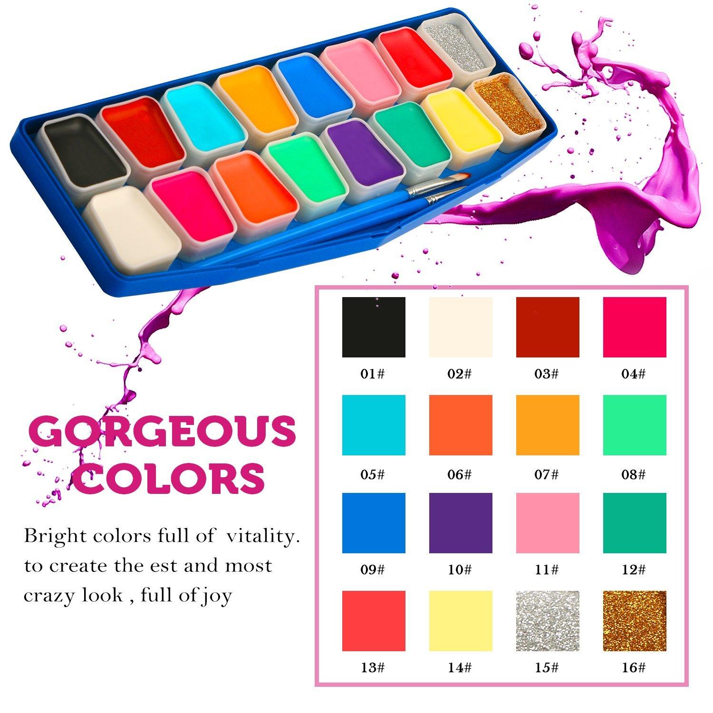 JamBer Pintura de Cara,40 Plantillas de Maquillaje infalibles,14 Colores,2 purpurinas,2 Pinceles Profesionales,Pintura Facial Segura y no tóxica,Pintura ...